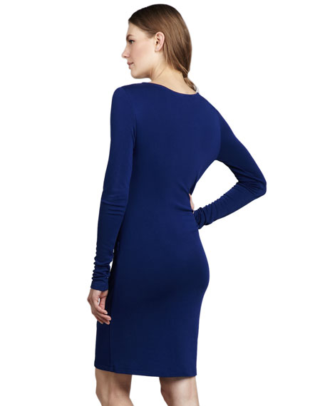 Twist-Front Long-Sleeve Dress