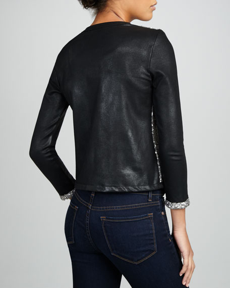 Faux-Leather/Sequined Cardigan