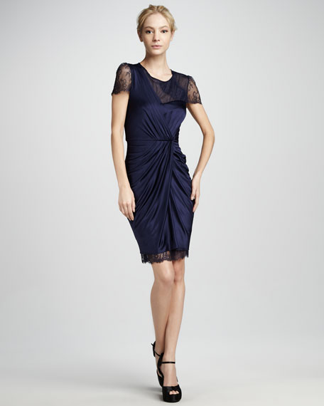 Mercedes Gathered Lace-Trim Dress