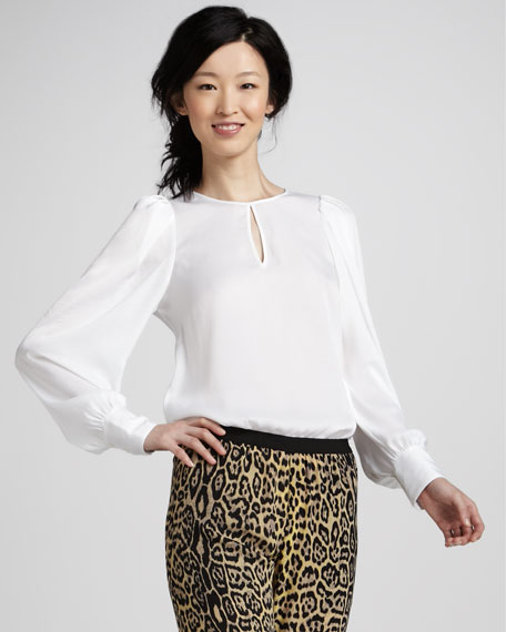 Shina Sheer Puff-Sleeve Blouse