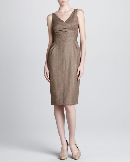 Gathered Herringbone Sheath Dress
