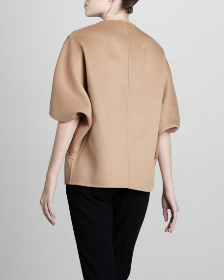 Wool Cape Jacket, Suntan