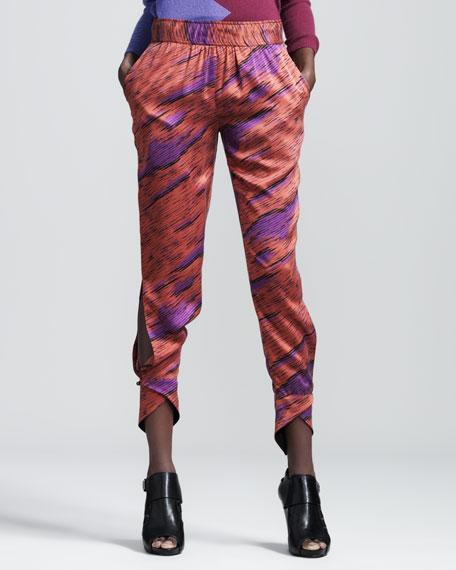 Spear Printed Silk Pants