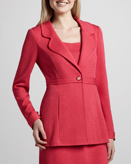 St. John Collection Santana Notch-Collar Jacket, Lipstick Pink
