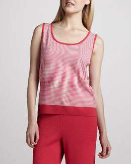 St. John Collection Micro Striped Santana Tank, Lipstick Pink