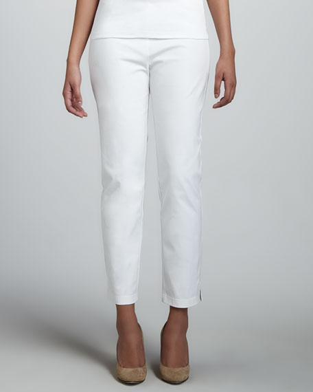 Slim Twill Ankle Pants, White