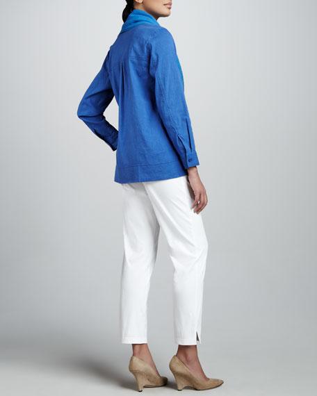Stretch-Linen Shirt, Petite
