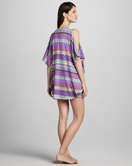 Printed Open-Shoulder Coverup
