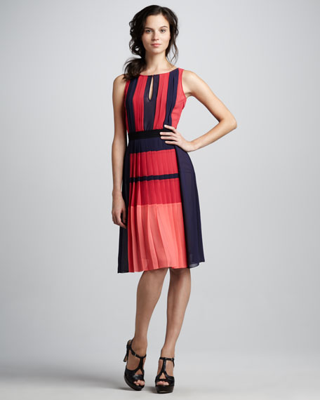 Jesia Pleated Colorblock Dress