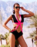 Cap-Sleeve One-Piece Bandage Swimsuit