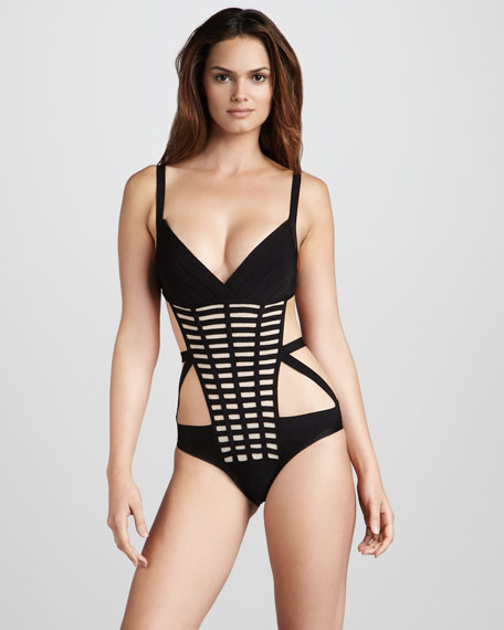 Grid-Front Monokini Swimsuit