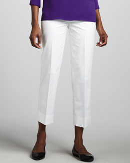 Lafayette 148 New York Bleecker Cropped Pants, White