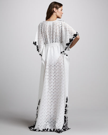 Embroidered Crochet Maxi Coverup Caftan