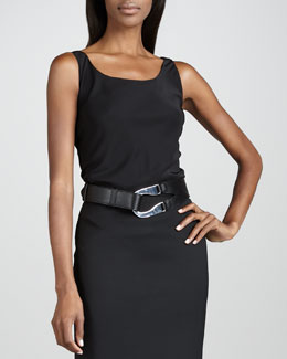 Lafayette 148 New York Bias-Cut Matte Tank, Black