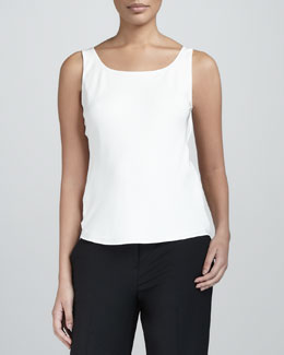 Lafayette 148 New York Basic Scoop-Neck Tank, Cloud