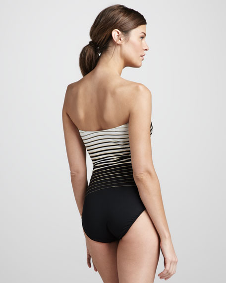 Riley Striped Bandeau One-Piece Swimsuit