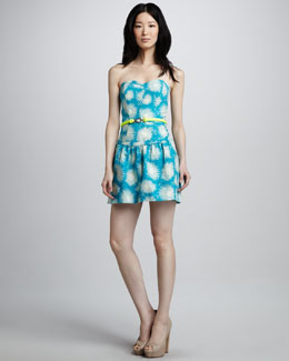 Milly Claudia Printed Strapless Dress