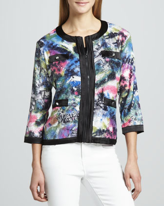 Sequined Print Zip Jacket