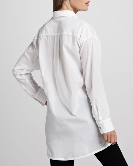 Solid Flared Big Shirt, Petite