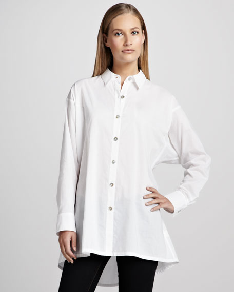 Solid Flared Big Shirt, Women's