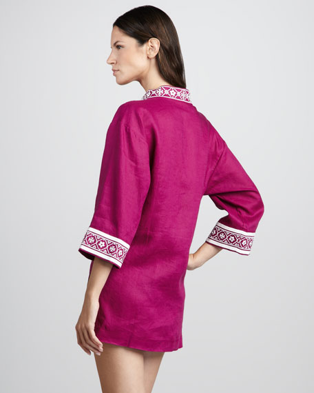 Tory Linen Coverup Tunic, Fuchsia