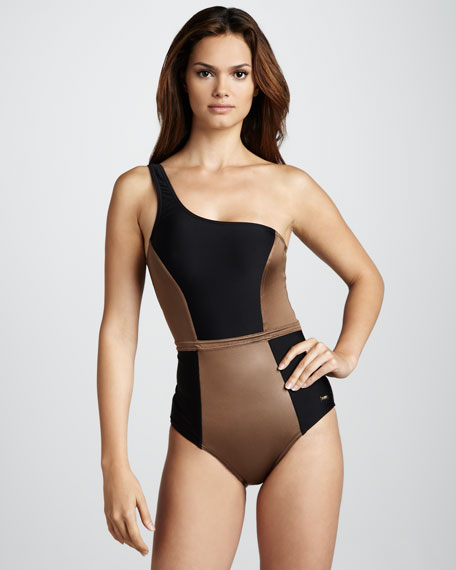 One-Shoulder Colorblock One-Piece Swimsuit