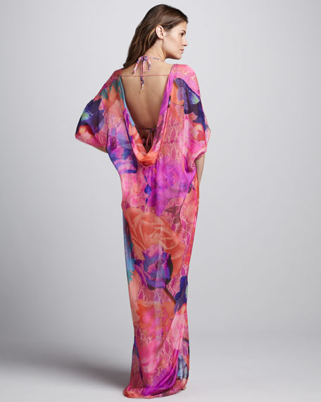 Rope-Waist Printed Maxi Coverup