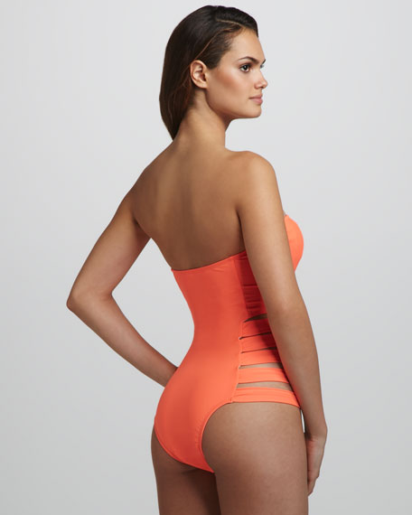 Contadora Neon Cutout Bandeau One-Piece Swimsuit