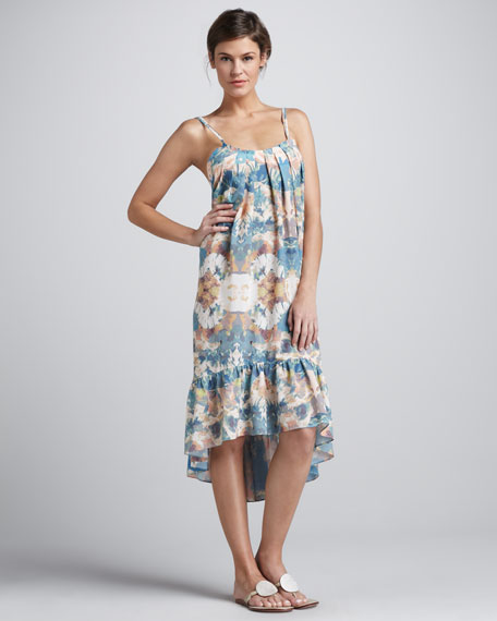 Floral-Print Backless Coverup Dress
