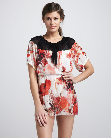 Floral-Print Peasant Tunic Coverup
