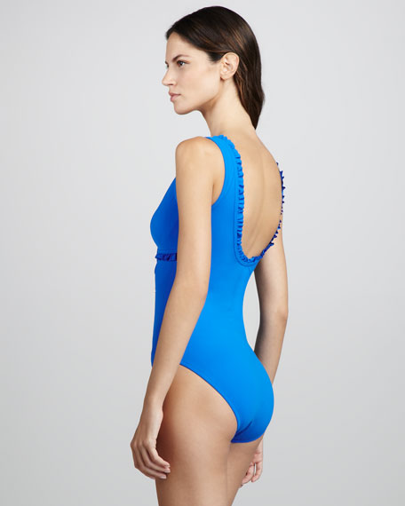 Ruffled V-Neck One-Piece Swimsuit