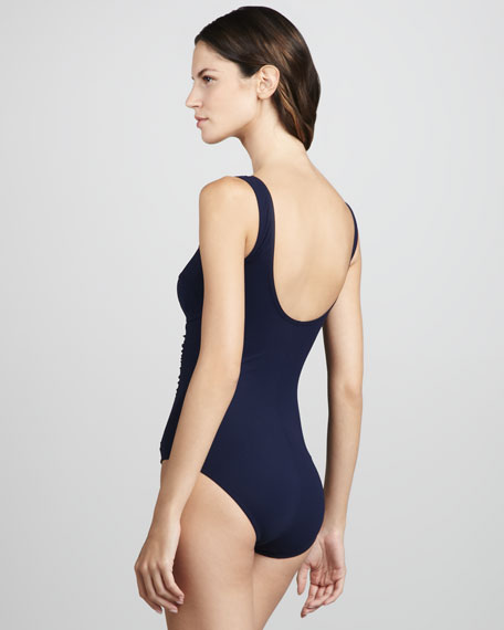 Basic Square-Neck One-Piece Swimsuit, Navy