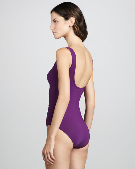 Basic Square-Neck One-Piece Swimsuit, Plum