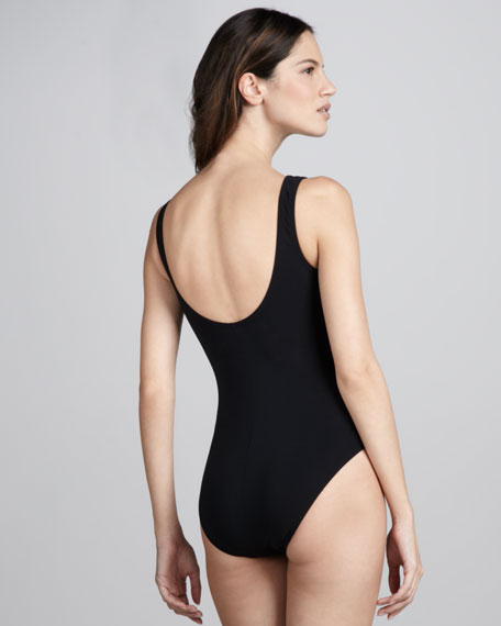 Contrast Twist-Front One-Piece