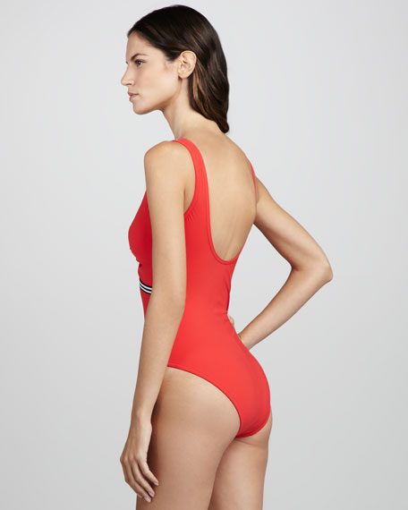 Stripe-Trim One-Piece Swimsuit