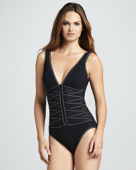 Perforated Zip-Front One-Piece
