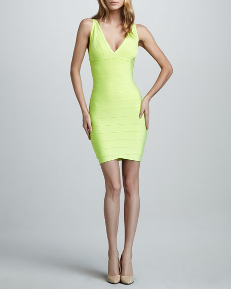 V-Neck Bandage Dress, Neon Yellow