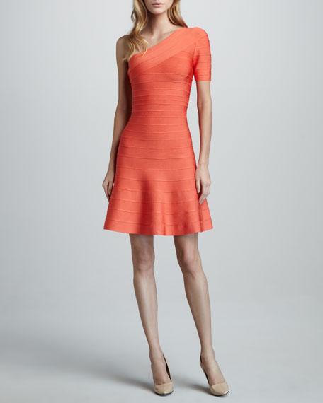 One-Shoulder A-Line Bandage Dress