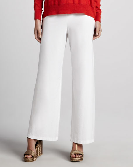 Wide-Leg Crepe Pants, White