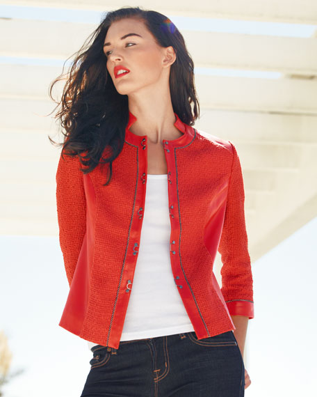 Tweed-Textured Leather Jacket