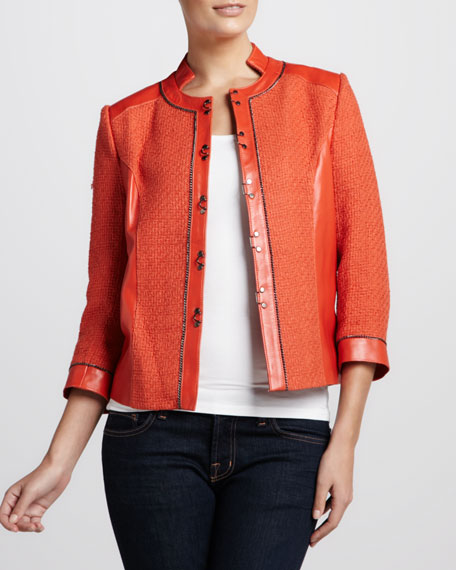 Tweed-Textured Leather Jacket