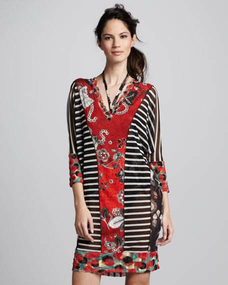Mixed-Print Tulle Coverup Tunic