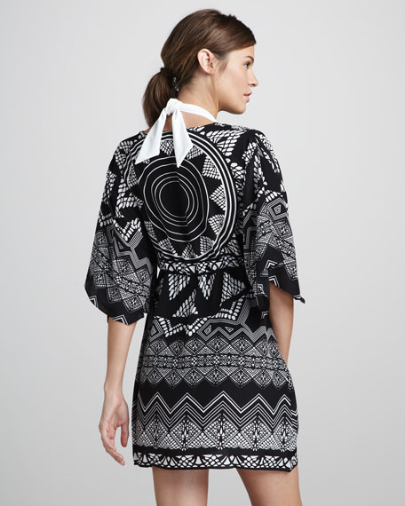 Lace-Print Coverup Kimono Dress
