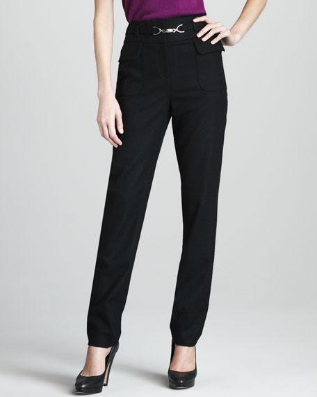 Tropical Wool High-Waist Pants