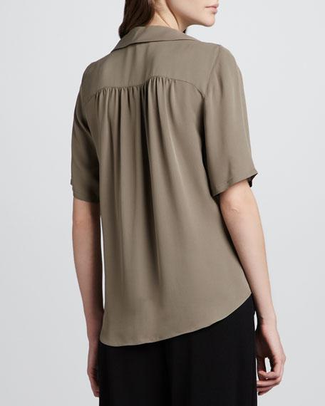 Silk Collar Top, Taupe
