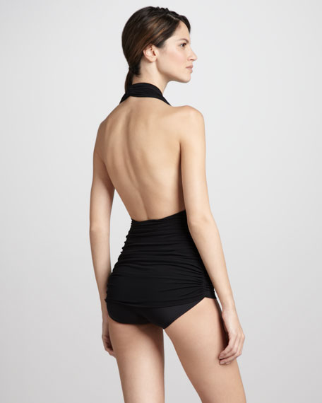 Bill Ruched Halter One-Piece Swimsuit, Black