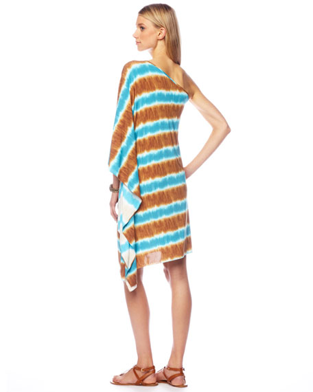 Striped One-Shoulder Coverup