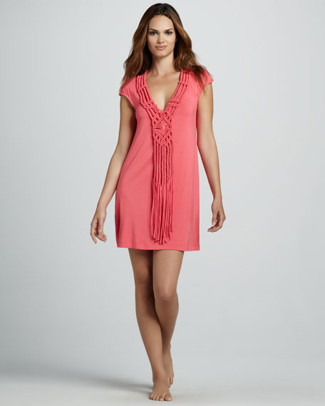 Macrame-Front Jersey Coverup