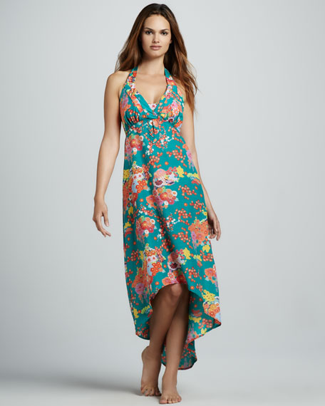 Kimono Floral-Print Coverup