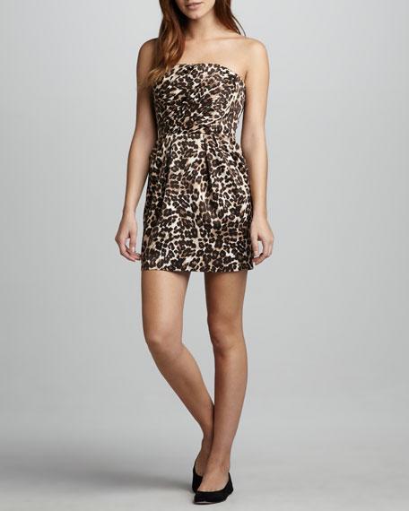 Leopard-Print Strapless Dress